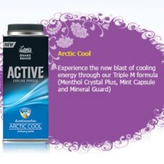 Snake Brand Arctic Cool Talc Powder Prickly Heat  Menthol Camphor Triclocarbon